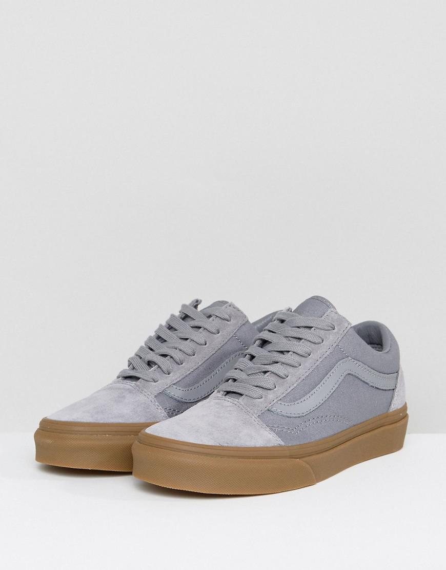 1f633a24bb2687 Vans Suede Old Skool Trainers In Grey With Gum Sole in Gray - Lyst