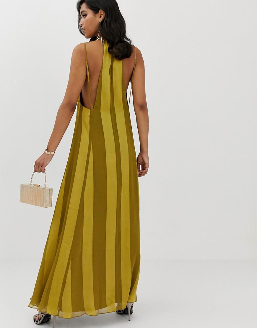 02927149f1 ASOS Trapeze Maxi Dress With Plunge Neck In Soft And Solid Stripe - Lyst
