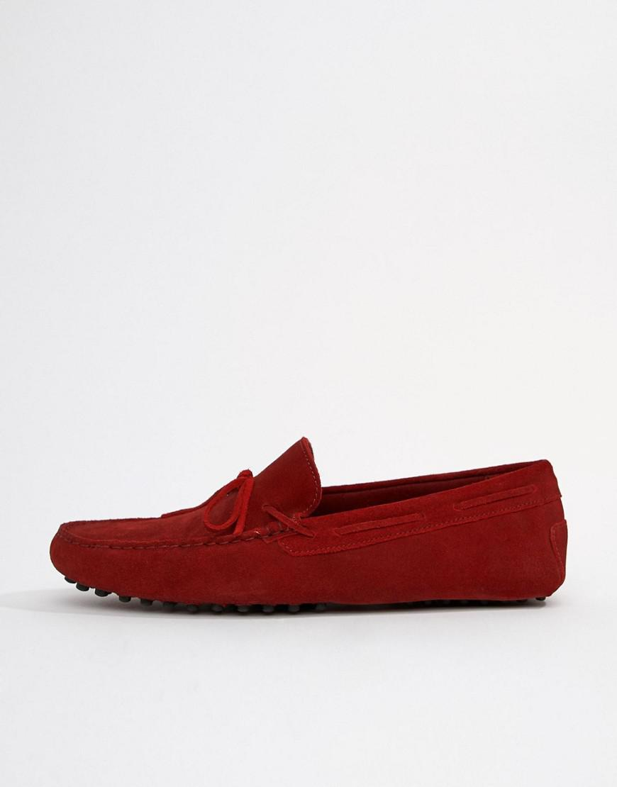 ca7eb719d05 Asos Design Wide Fit Driving Shoes In Red Suede With Tie Front in Red for  Men - Lyst