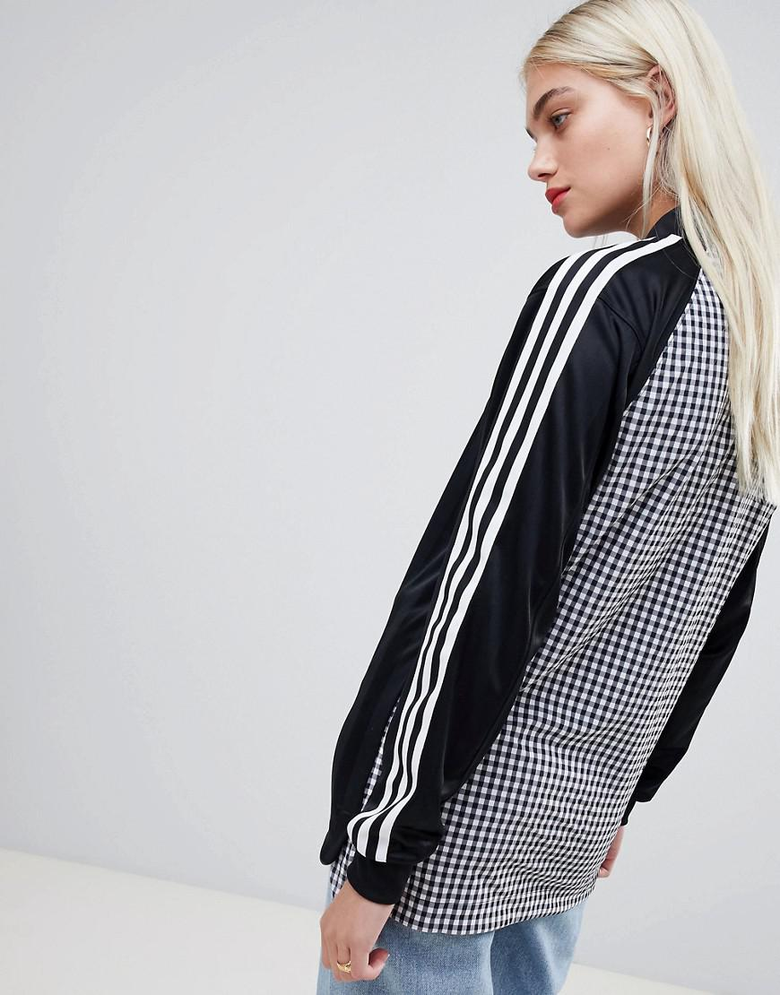 dc3ab02026d2 Lyst - adidas Originals Three Stripe Long Sleeve T-shirt In Black With  Gingham Print Back in Black