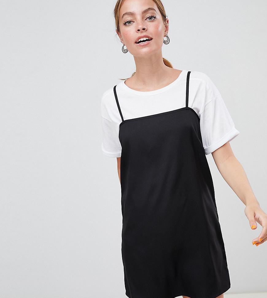 5e5db205d33 Lyst - ASOS Asos Design Petite Square Neck Cami Slip Mini Dress in Black