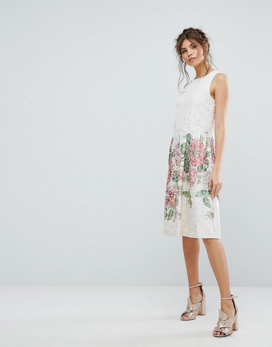d2c890a6c067 Oasis Royal Worcester Lace Top Floral Jacquard Midi Dress - Lyst