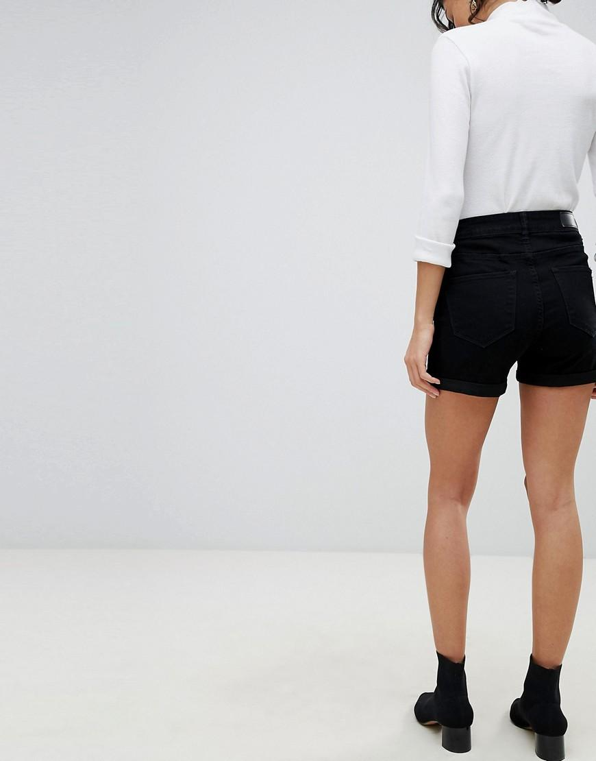 de4209ed6 Lyst - Vero Moda Roll Hem Denim Short In Black in Black