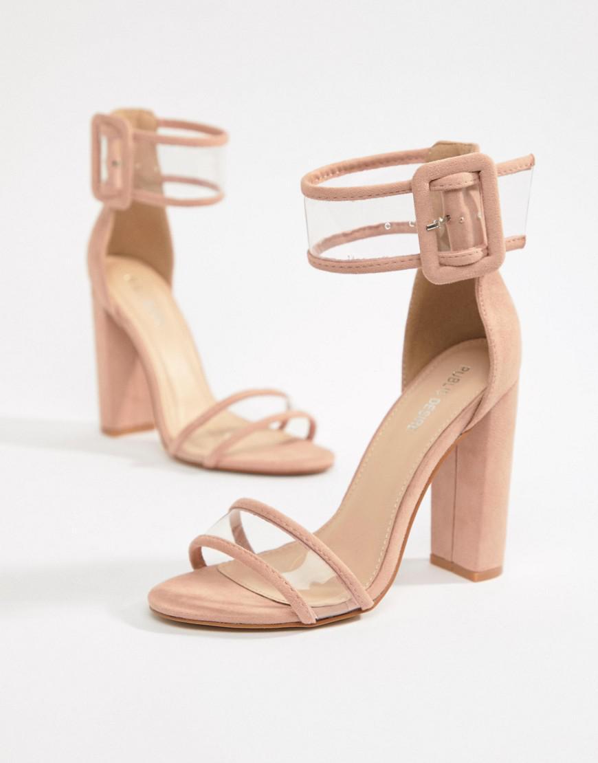 f712ced3c6b Public Desire. Women s Mission Dusty Pink Clear Strap Block Heeled Sandals