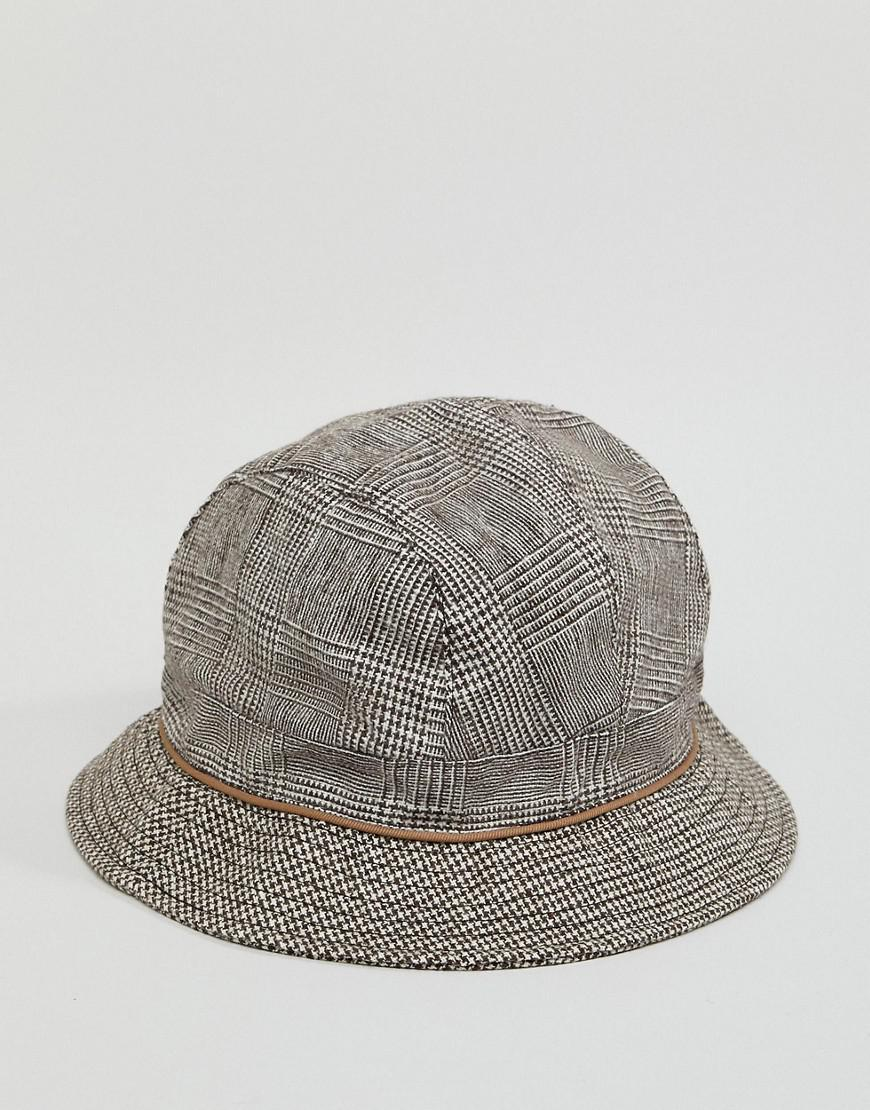 35bdbef213646 Lyst - ASOS Bucket Hat With Contrast Check Panelling in Brown for Men
