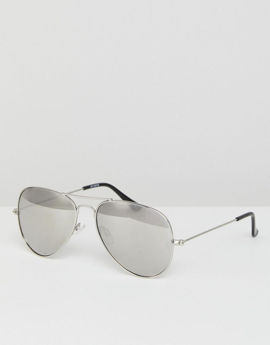 50f65189da2 ASOS. Men s Metallic Aviator Sunglasses In Silver With Silver Mirrored Lens