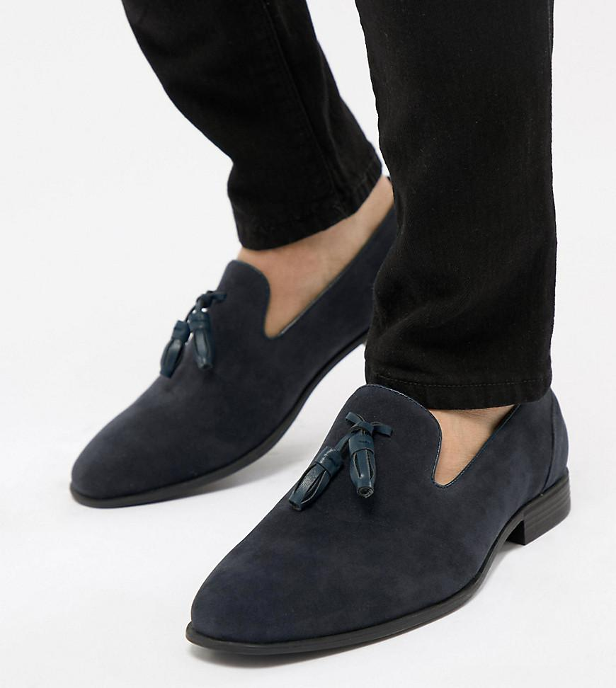 9ab04faf424 ASOS - Blue Wide Fit Tassel Loafers In Navy Faux Suede for Men - Lyst. View  fullscreen