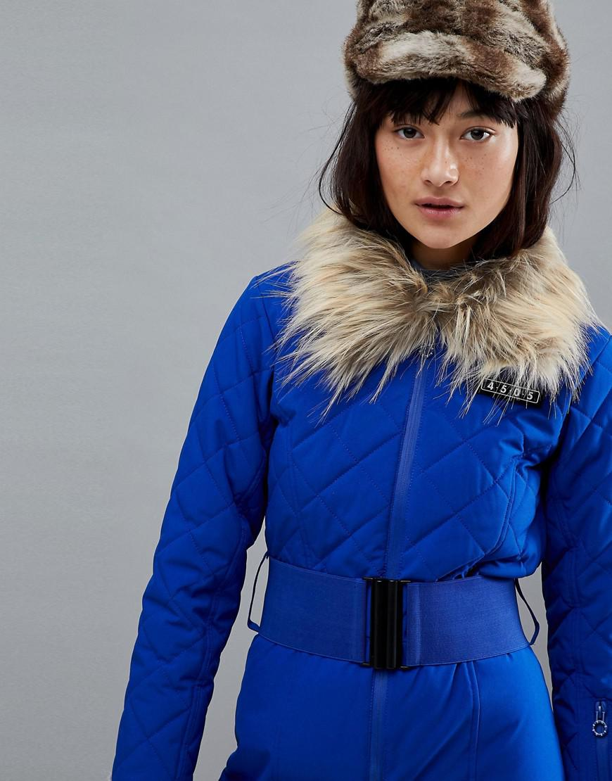 8c8765a8dc7 Lyst - ASOS 4505 Ski Jumpsuit With Detachable Faux Fur Collar in Blue