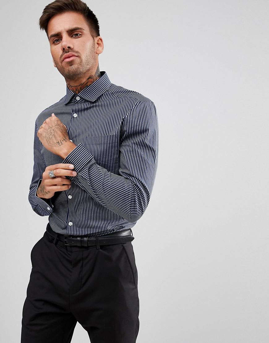 DESIGN Smart Stretch Slim Stripe Shirt With Cutaway Collar And Double Cuffs - Blue Asos Outlet Shopping Online 0evVoB3ti