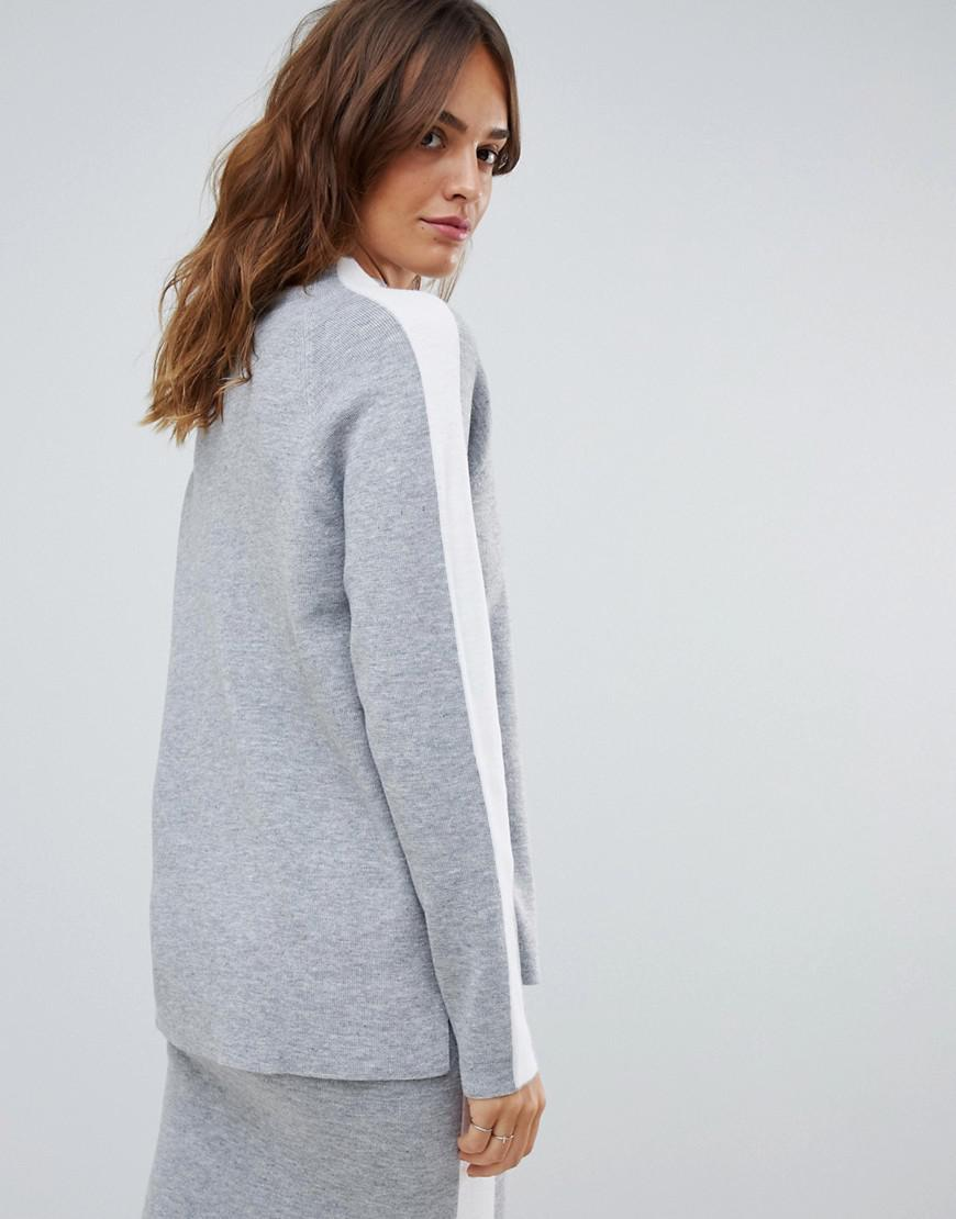 64ddf55ab8 Lyst - Micha Lounge High Neck Jumper With Side Stripe Co-ord in Gray