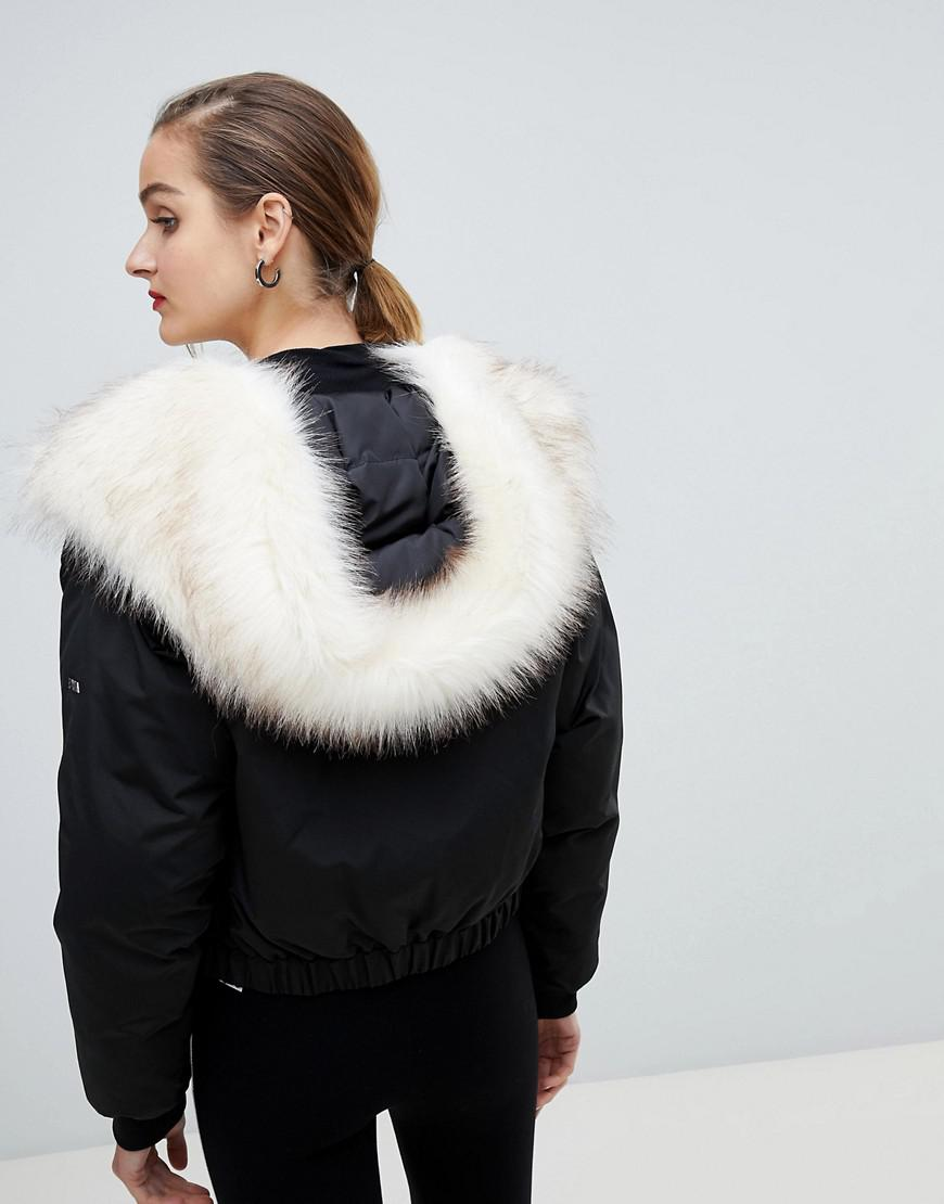 f09ff6a319f Emporio Armani Cropped Padded Jacket With Faux Fur Hood in Black - Lyst