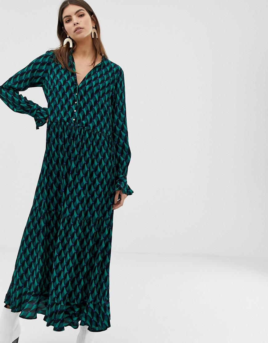 fce5a5602 Y.A.S - Green Geo Printed Maxi Shirt Dress - Lyst. View fullscreen