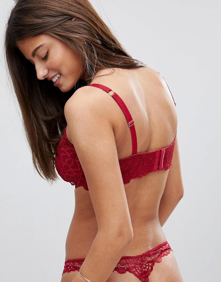 699f71ad3cb ASOS Fuller Bust Rita Lace Mix   Match Plunge Bra in Red - Lyst