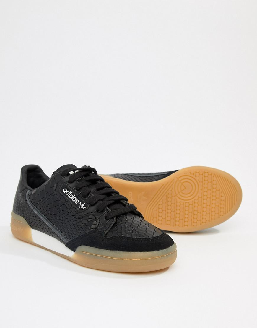 Lyst - adidas Originals Continental 80 s Trainers In Black With Gum Sole in  Black 0a65ed449