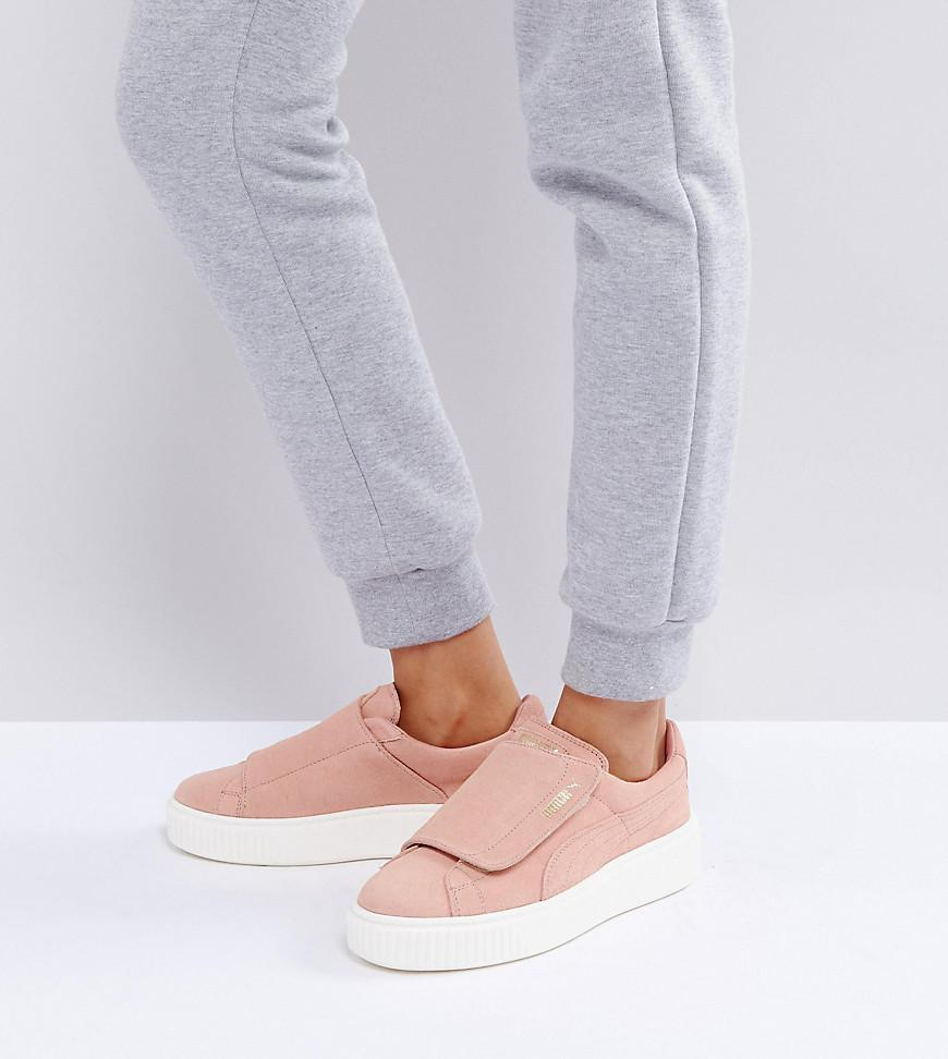 detailed look 18dfe 73bb8 PUMA Suede Strap Platform Sneakers In Pink in Pink - Lyst