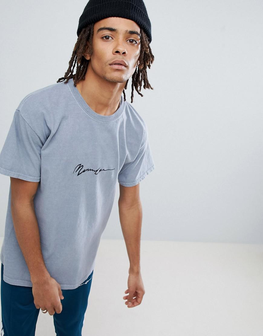 Oversized T-Shirt In Grey With Embroidered Logo - Grey Mennace
