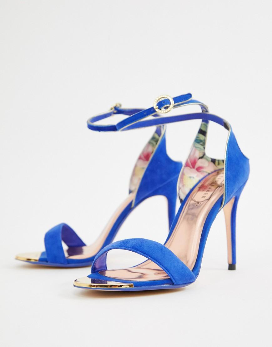 9907cdd48 Ted Baker Suede Barely There Heeled Sandals in Blue - Lyst