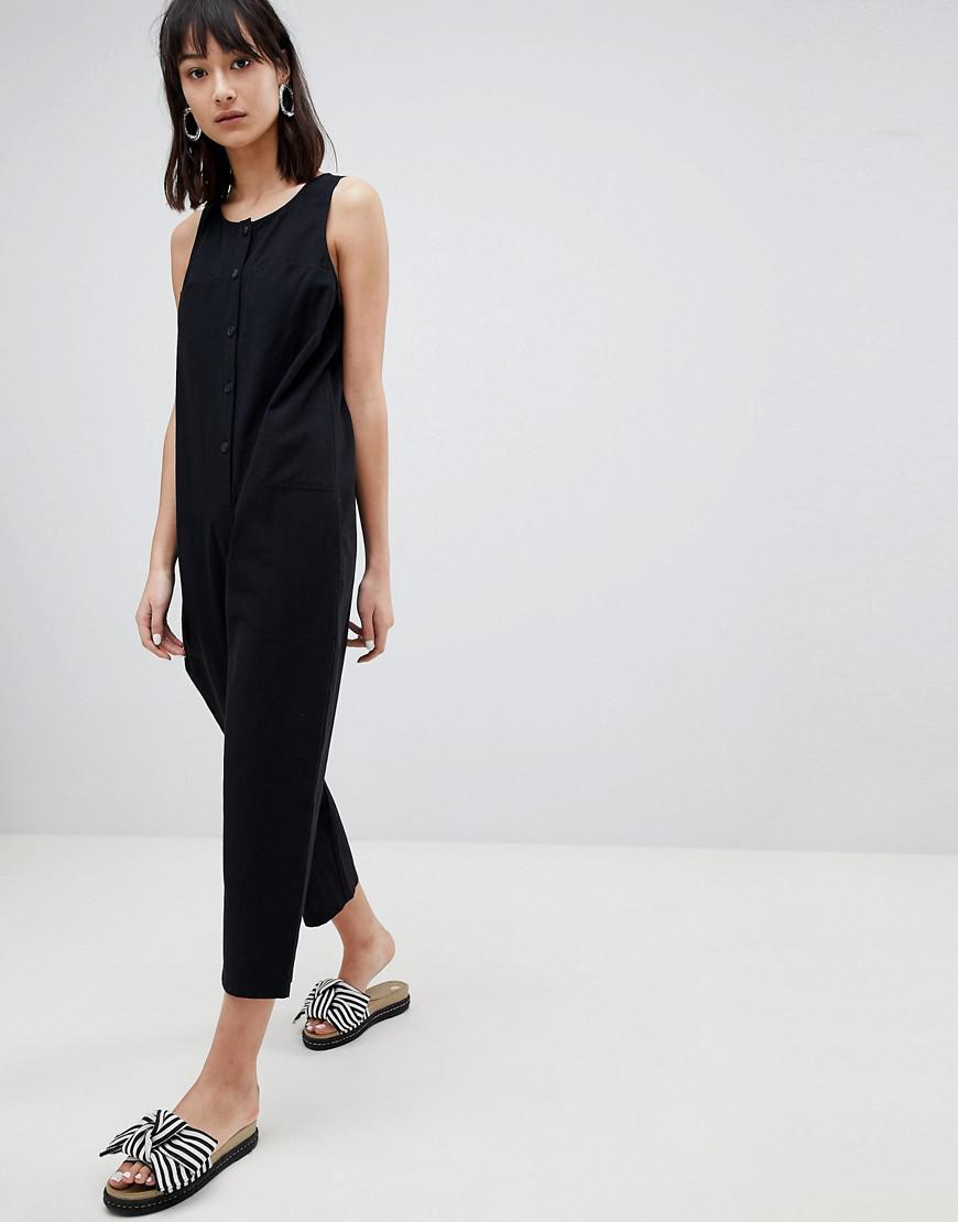 Lyst Asos Washed Cotton Boilersuit With Button Detail In Black