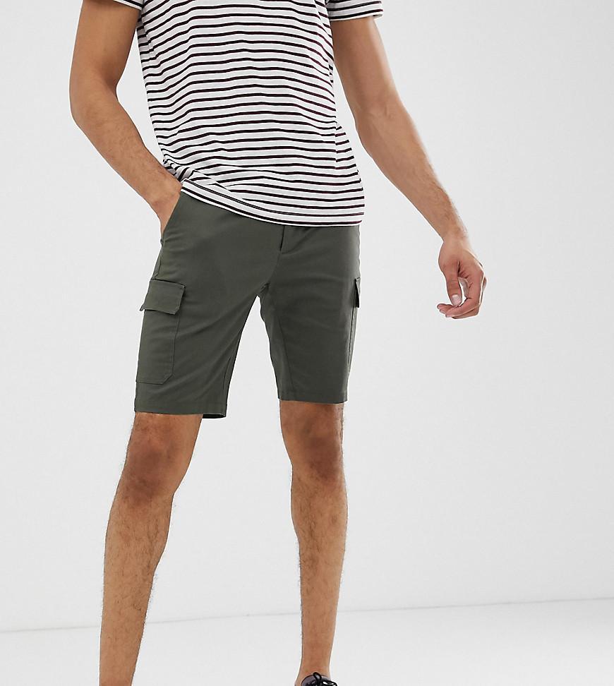 ff04431863 Lyst - Pantalones cortos cargo ajustados caqui de Tall ASOS de ...