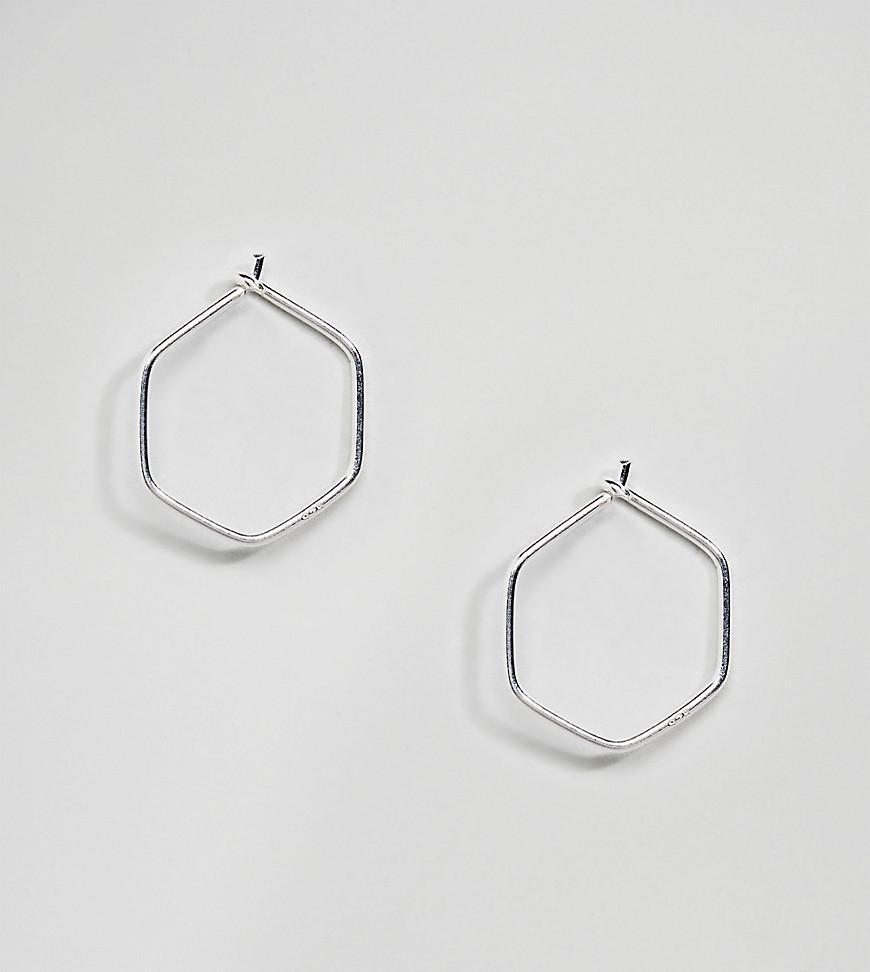 Sterling Silver Mini Hexagon Hoop Earrings - Silver Kingsley Ryan 5U3Gpbv