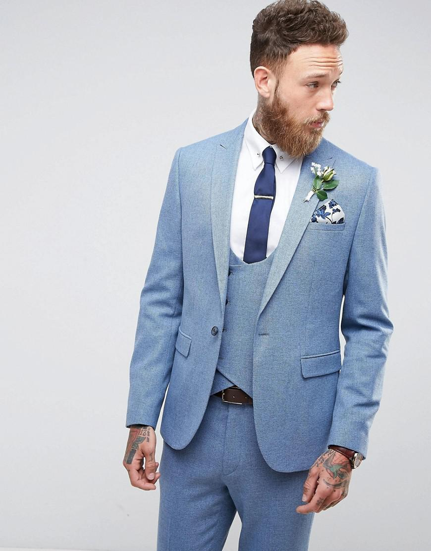 Lyst - Asos Wedding Skinny Suit Jacket In Airforce Blue Micro ...