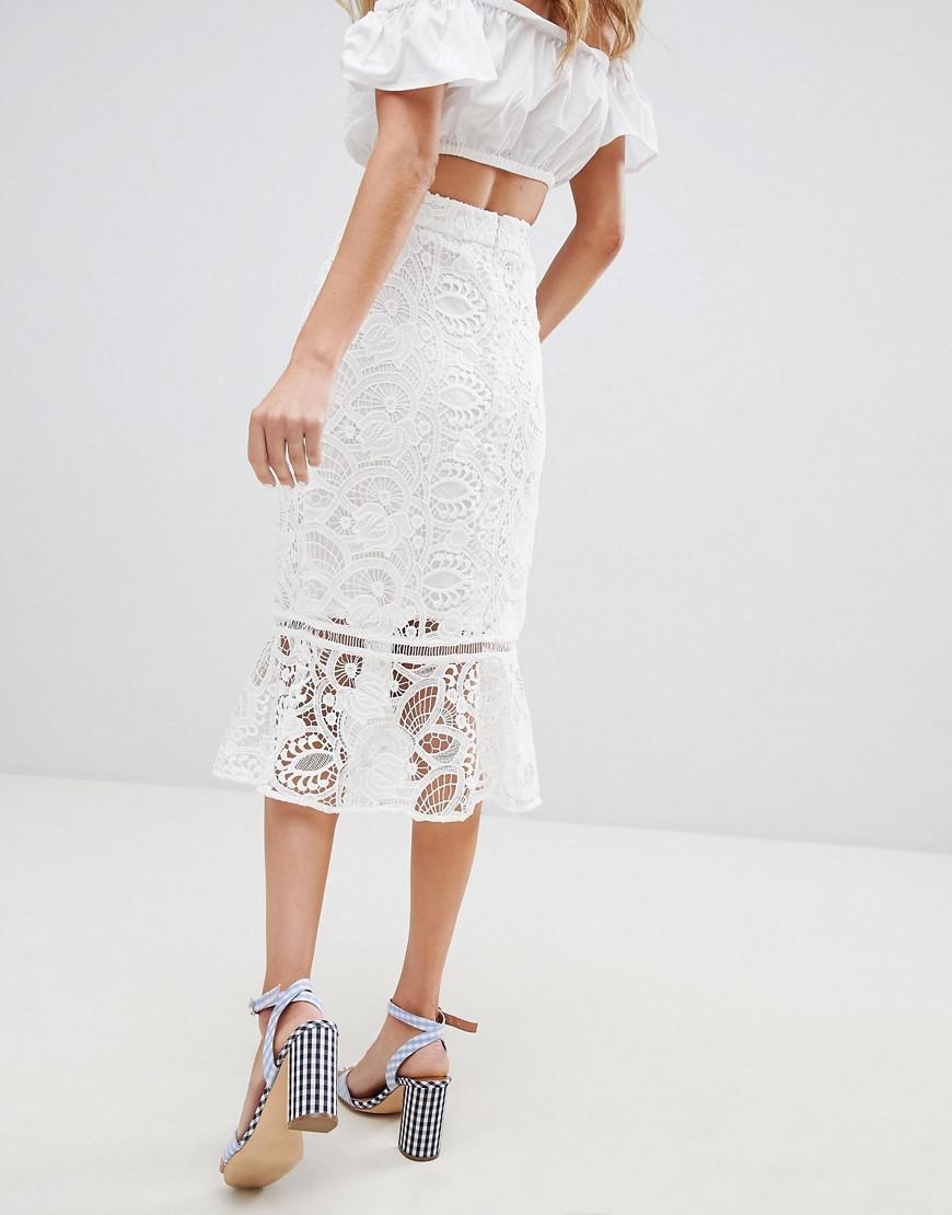 c5de0f759a River Island Lace Fishtail Midi Skirt in White - Lyst