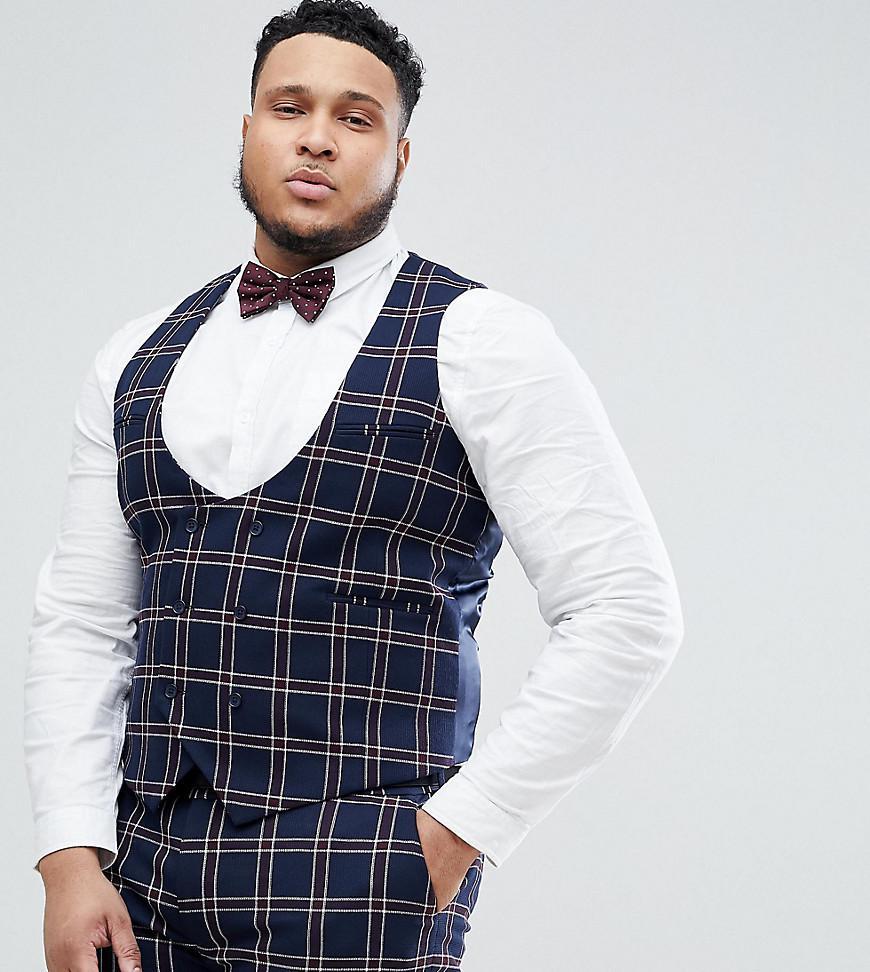 aad1152b2 ASOS Plus Wedding Super Skinny Suit Waistcoat In Navy Waffle Check ...