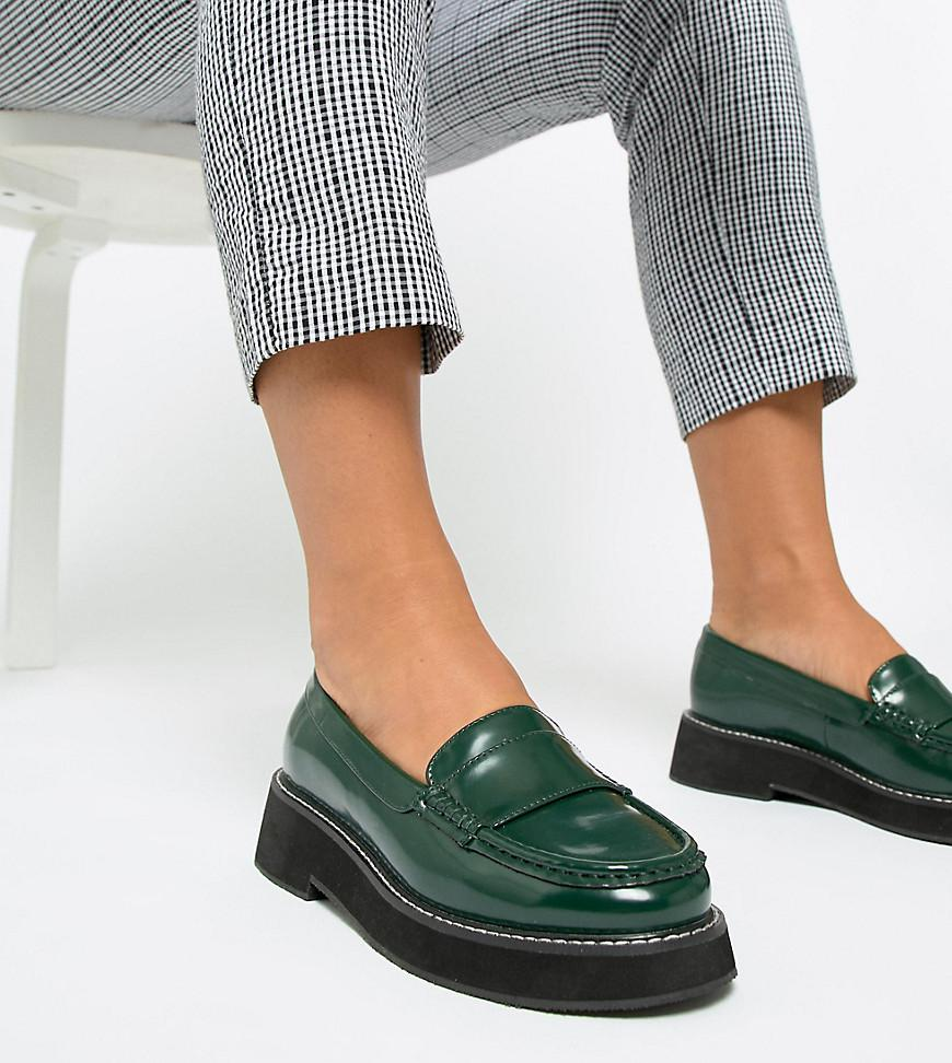 2eb41c716dd ASOS Wide Fit Mastery Chunky Loafer Flat Shoes in Green - Lyst