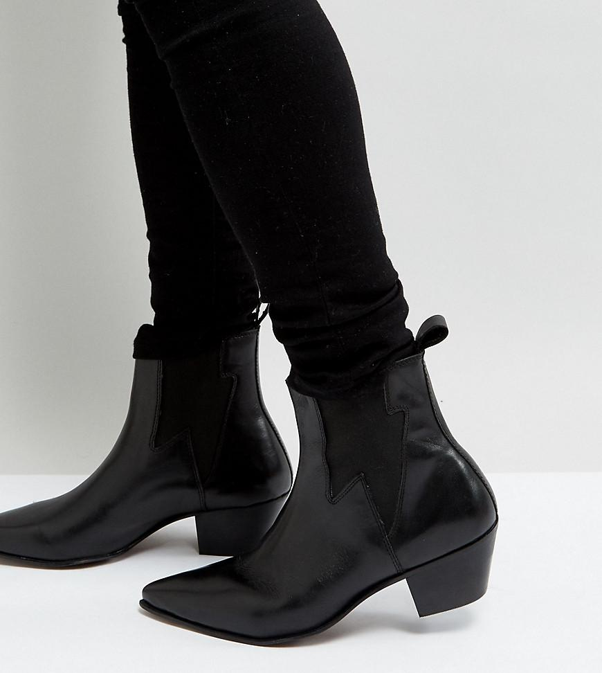 8aa01b3baa7 Lyst - ASOS Wide Fit Cuban Heel Western Boots In Black Leather With ...