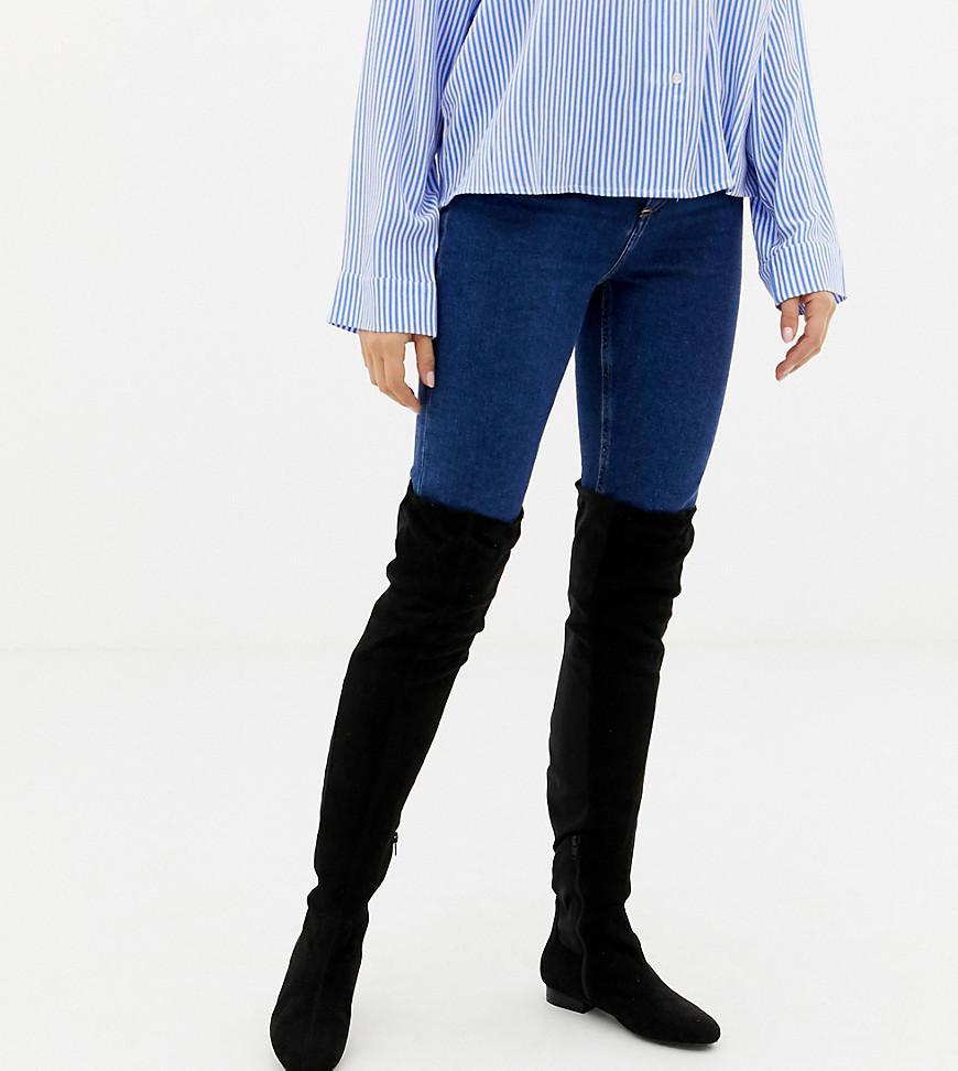 a8fc89e74d8f ASOS - Black Wide Fit Extra Wide Leg Kelby Flat Elastic Thigh High Boots -  Lyst. View fullscreen