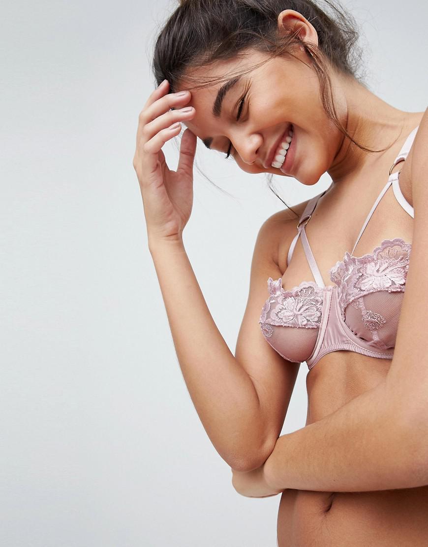 78a27b1e08bf4 Lyst - ASOS Asos Alexa Applique Lace Underwire Bra in Pink