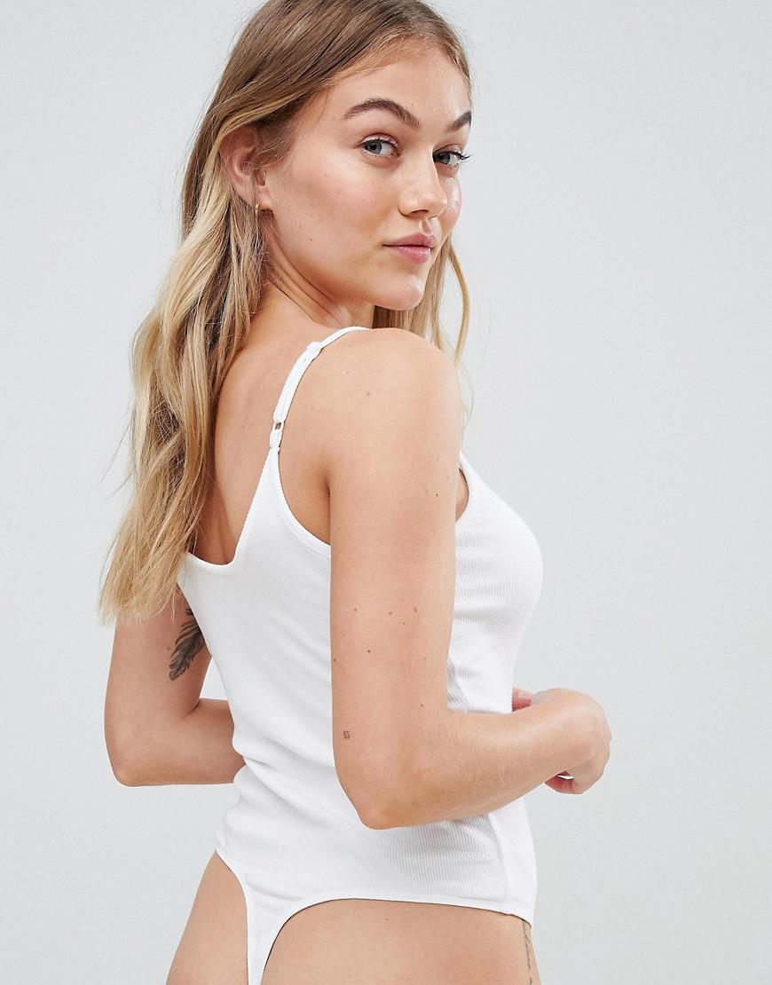 794490384a21f ASOS Asos Design Petite Cami Body With Wrap Front In White in White ...