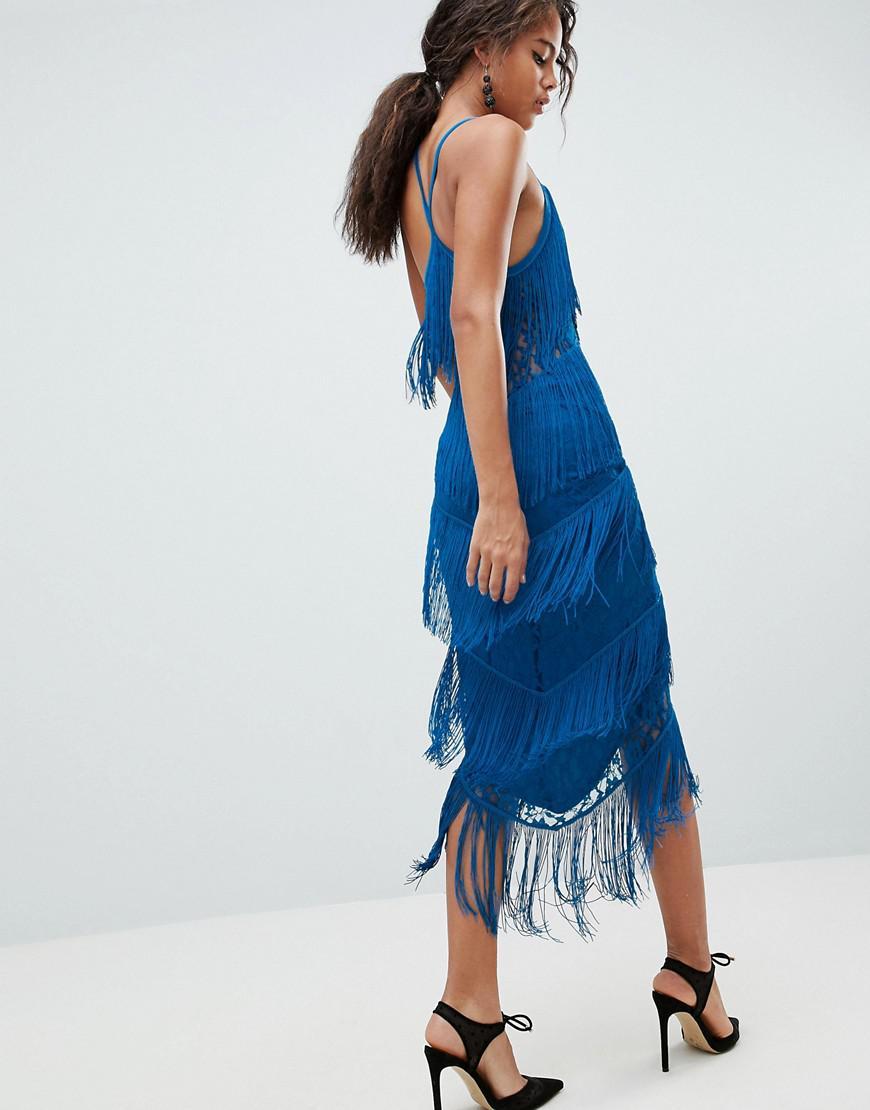 f551dd2789023 Lyst - ASOS Asos Design Tall Fringe   Lace Plunge Bodycon Midi Dress in Blue