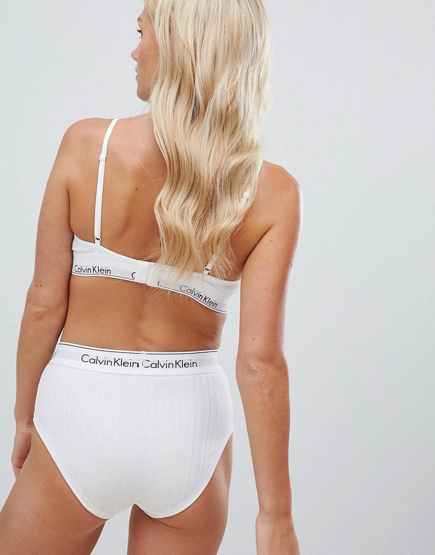 Calvin Klein Modern Cotton Ribbed Unlined Triangle Bra in White - Lyst dbef183aeb6