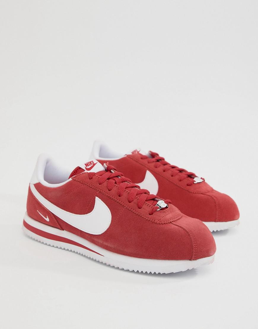 618e1d2058 ... wholesale nike cortez suede trainers in in red 902803 600 in red for  men lyst 28a26