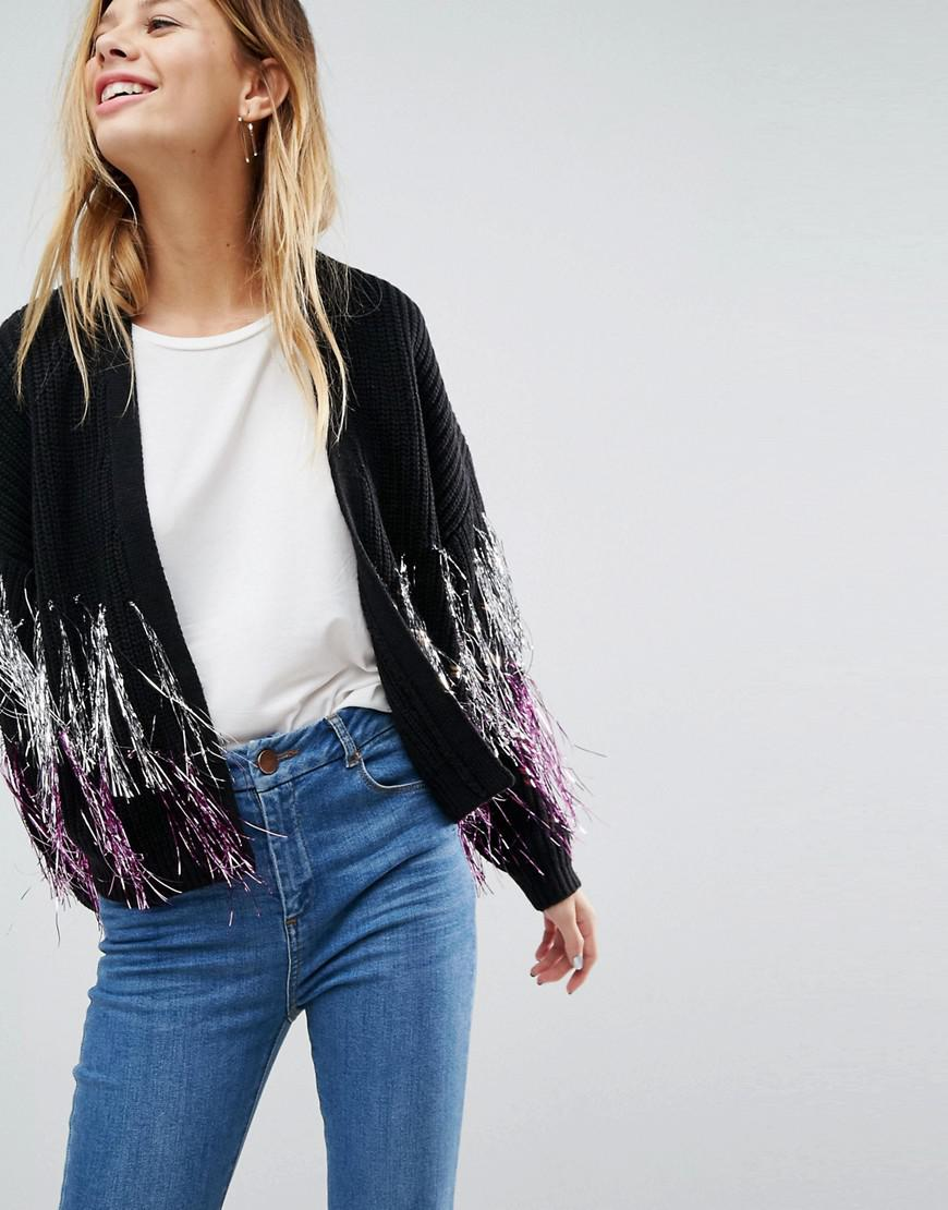 Lyst - ASOS Asos Cardigan With Metallic Fringe Detail in Black d150bca21