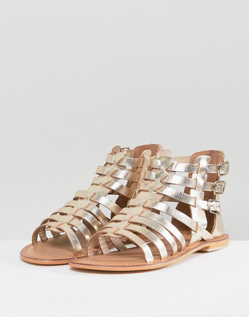 66753b9fc8 Lyst - ASOS Asos Foz Leather Gladiator Flat Sandals in Metallic