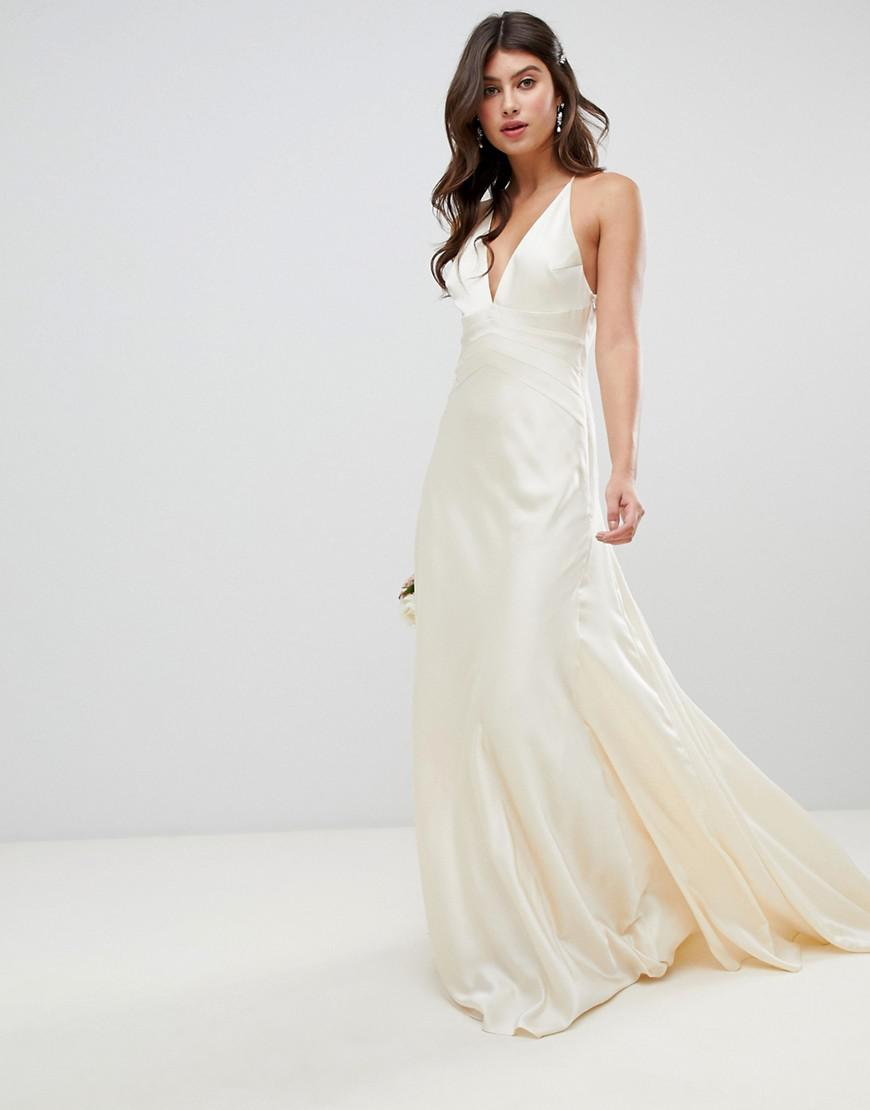 34fdf4c86583 ASOS Satin Paneled Wedding Dress With Fishtail in Natural - Lyst