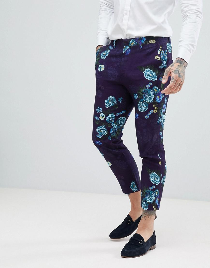 DESIGN Wedding Skinny Cropped Suit Trousers In Navy Floral Linen Look - Navy Asos vkBTl6