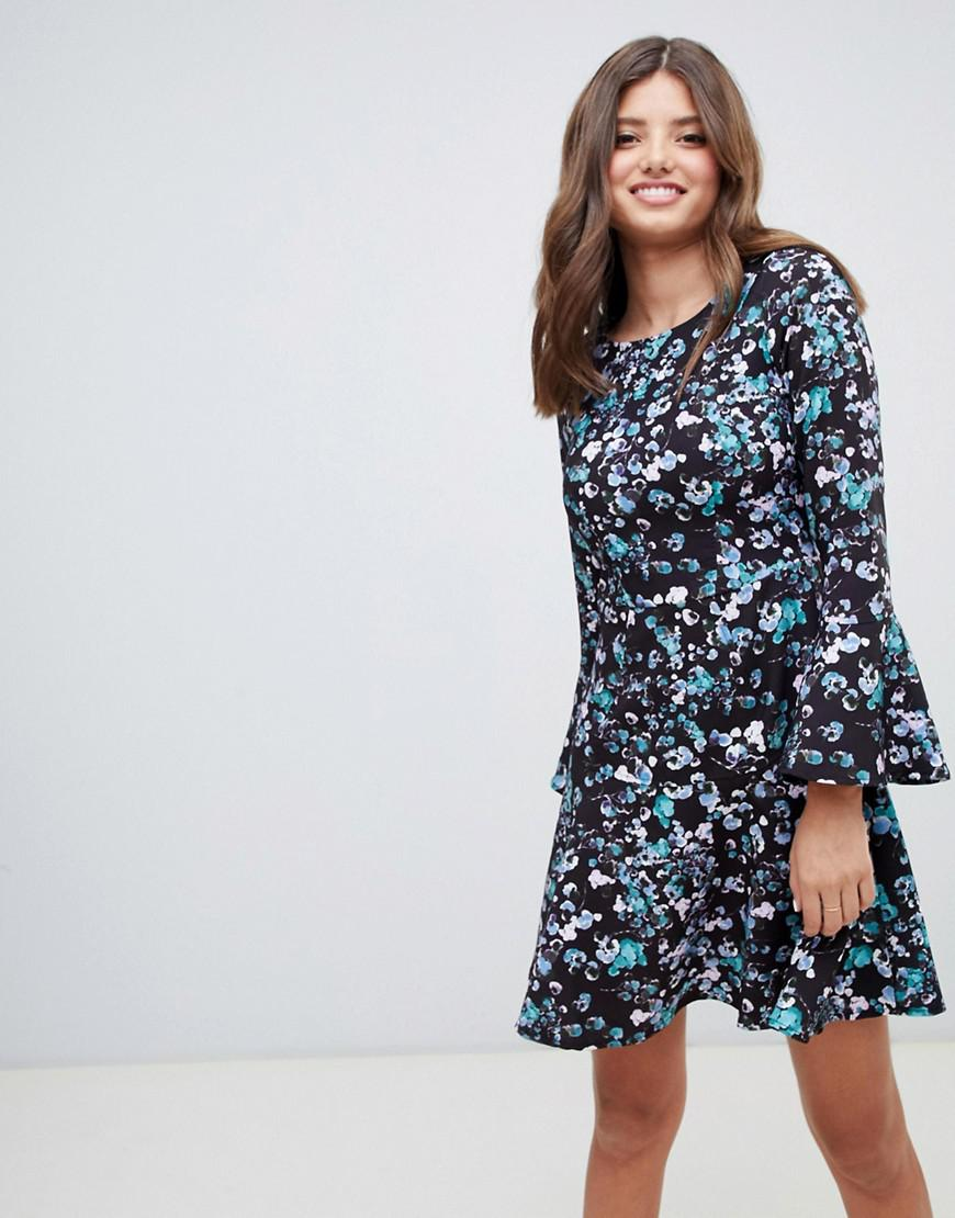 ef62fa68700f Closet Flute Sleeve Printed Skater Dress in Blue - Save 11% - Lyst