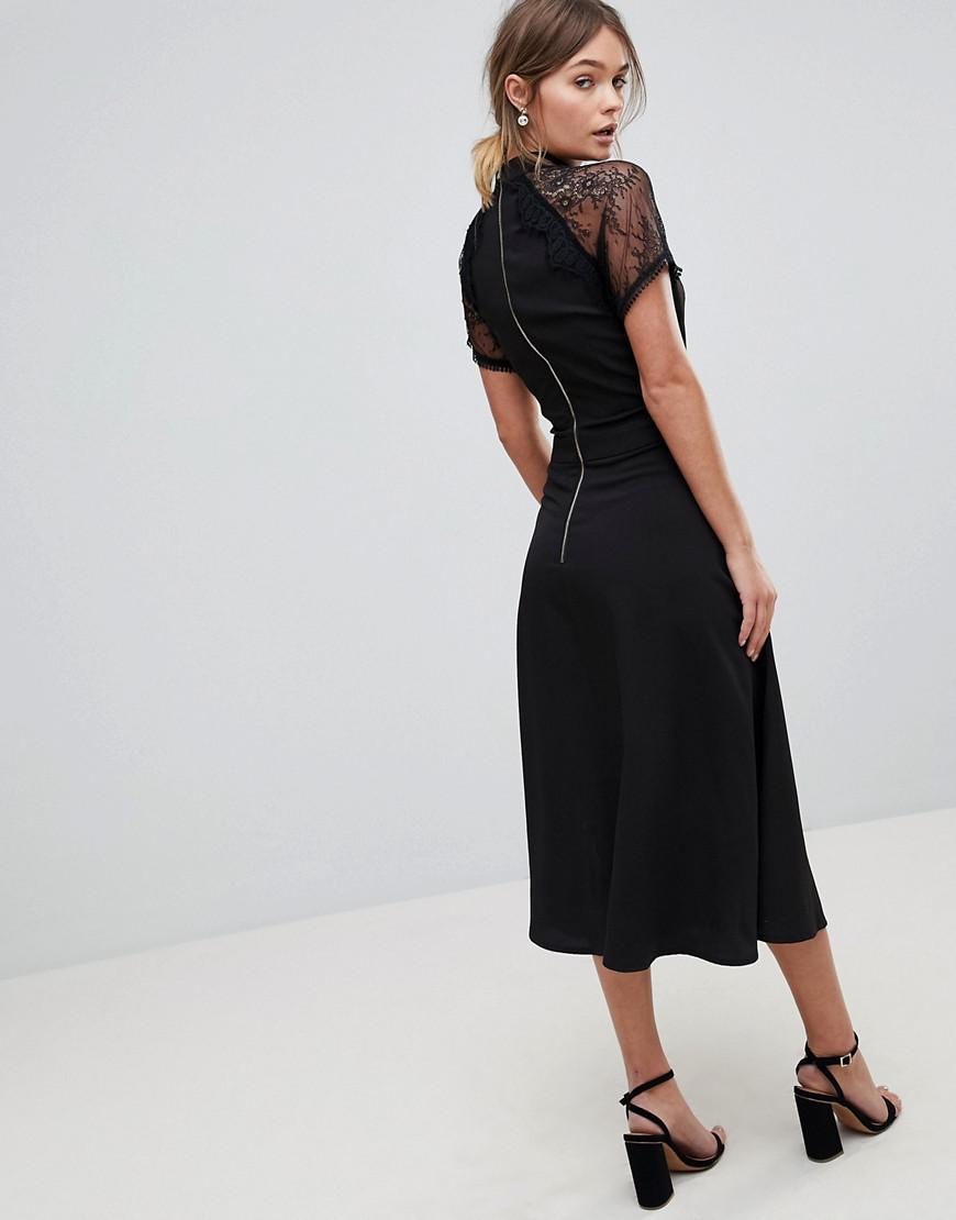6b963fa955c Liquorish A Line Lace Detail Midi Dress in Black - Lyst
