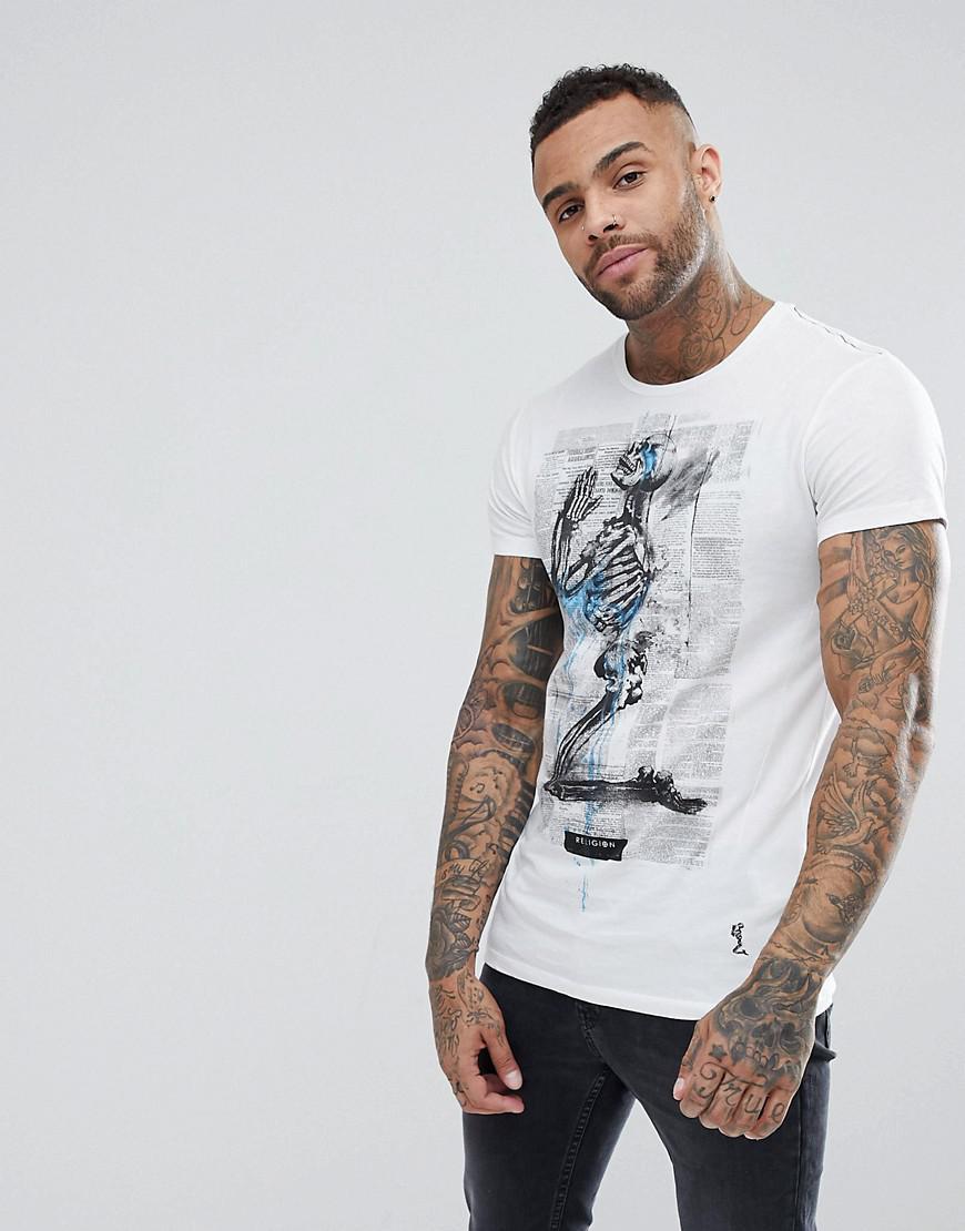 T-Shirt In White With Lightening Print - White Religion Sast Sale Online c9XVs2