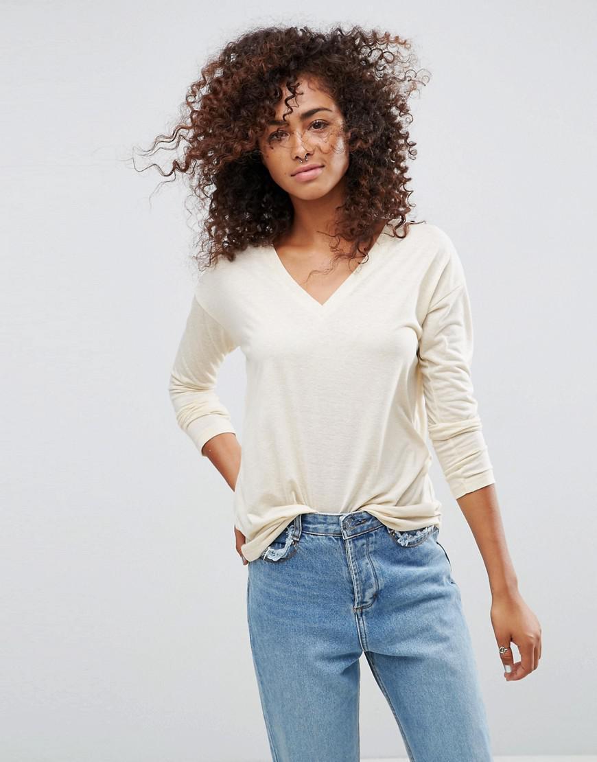 9b6d72d3e89 Lyst - ASOS V-neck Long Sleeve T-shirt In Linen Mix Fabric