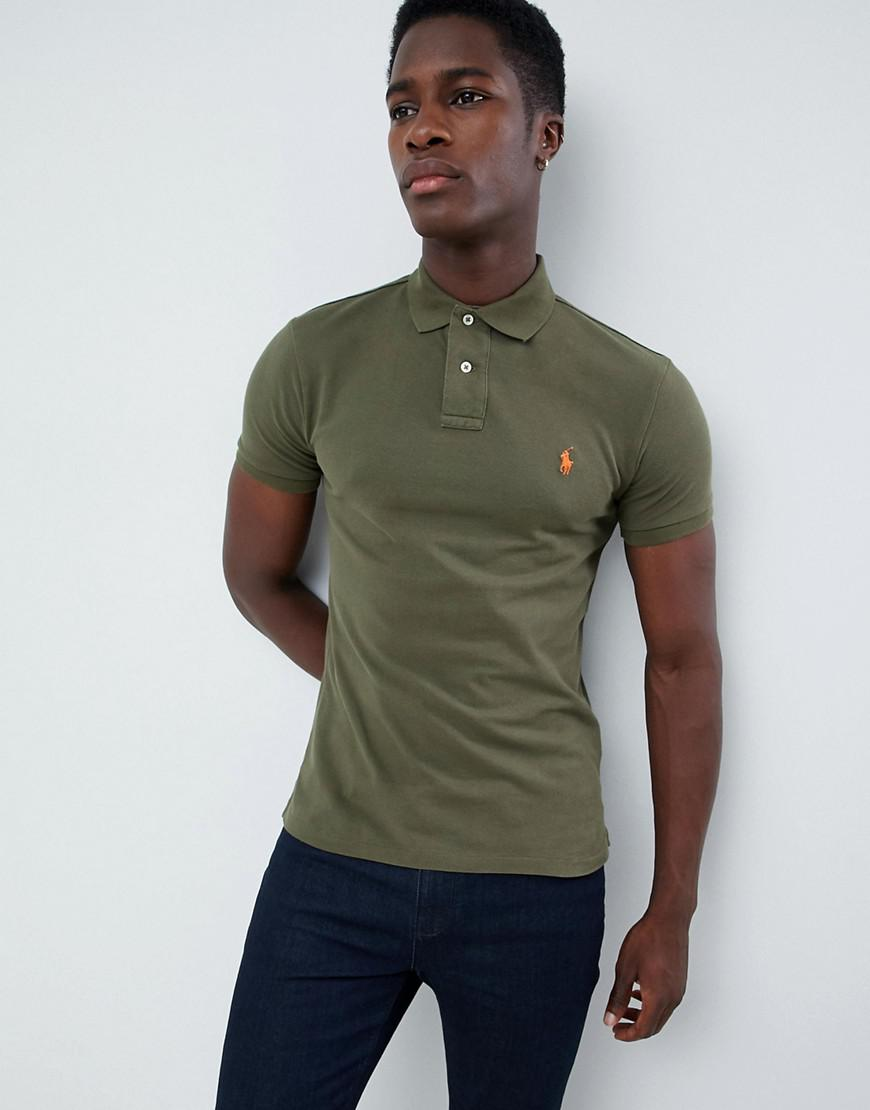 ff8d0692 Polo Ralph Lauren Slim Fit Pique Polo Player Logo In Olive Green in ...