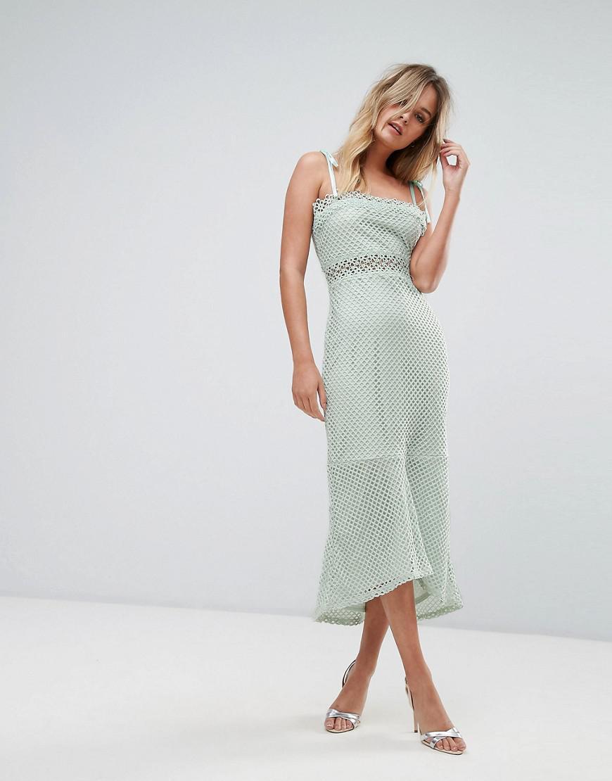 f99ed50b2c Vero Moda Lace Insert Midi Dress - Lyst
