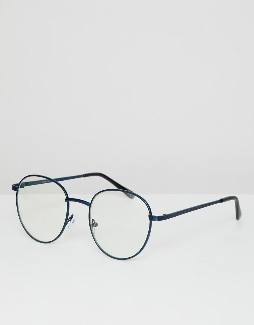c9a0449e78a3b ASOS Round Glasses In Navy Metal With Clear Lens in Blue for Men - Lyst