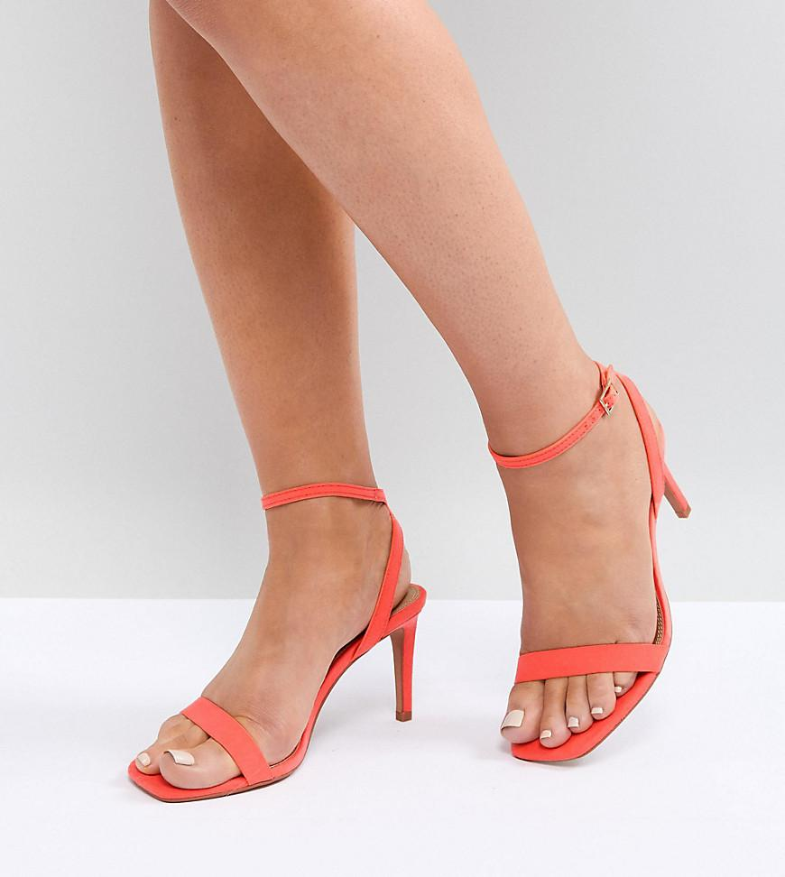 d1cc5730060 Lyst - ASOS Asos Half Time Wide Fit Barely There Heeled Sandals in Red