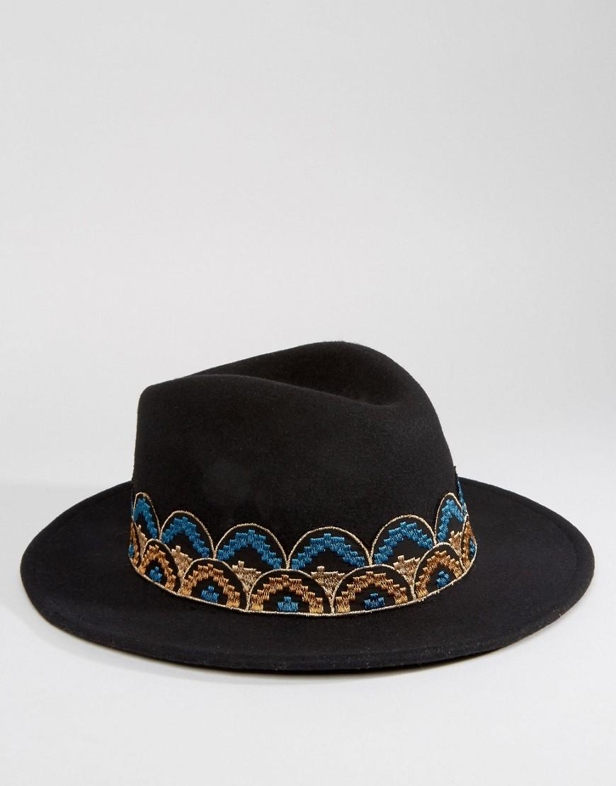 Brixton Fedora Hat With Embroidered Band in Black - Lyst 94de55d3c594