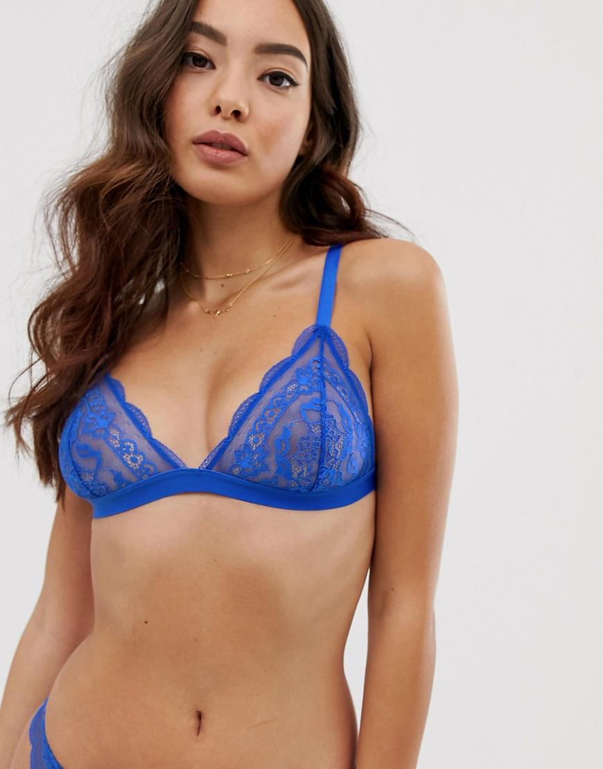 51409c939f Asos Roxy Lace Triangle Bra in Blue - Lyst