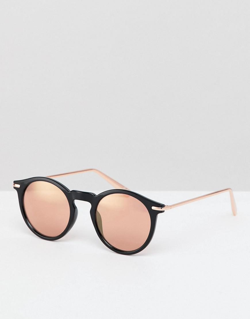 4b32a03f2fb Lyst - ASOS Round Sunglasses In Black With Rose Gold Mirrored Lens ...